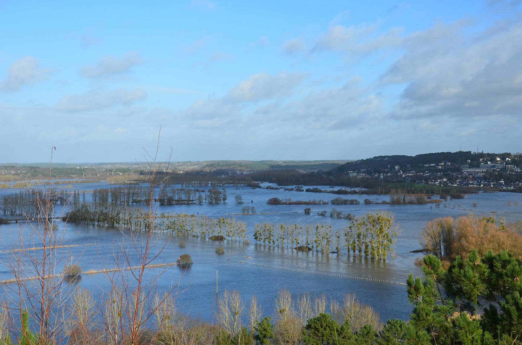 Crue d'hiver à Aucfer, Rieux, Bretagne